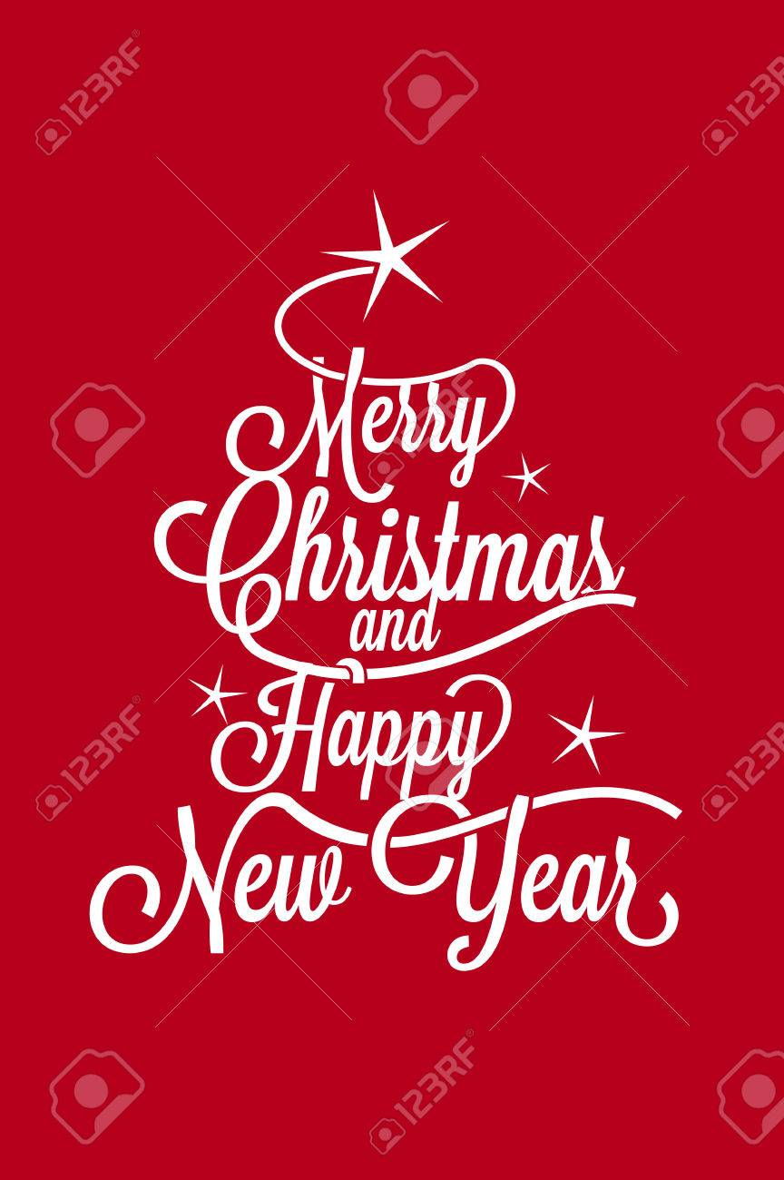 Merry Christmas and Happy New Year vertical postcard Stock Vector - 45709952