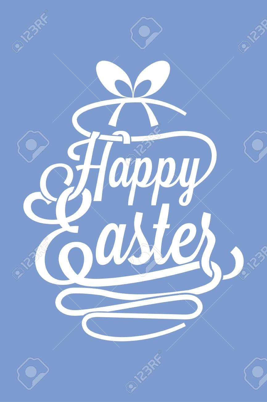 Happy Easter Azure Greeting Card With Calligraphic Words And