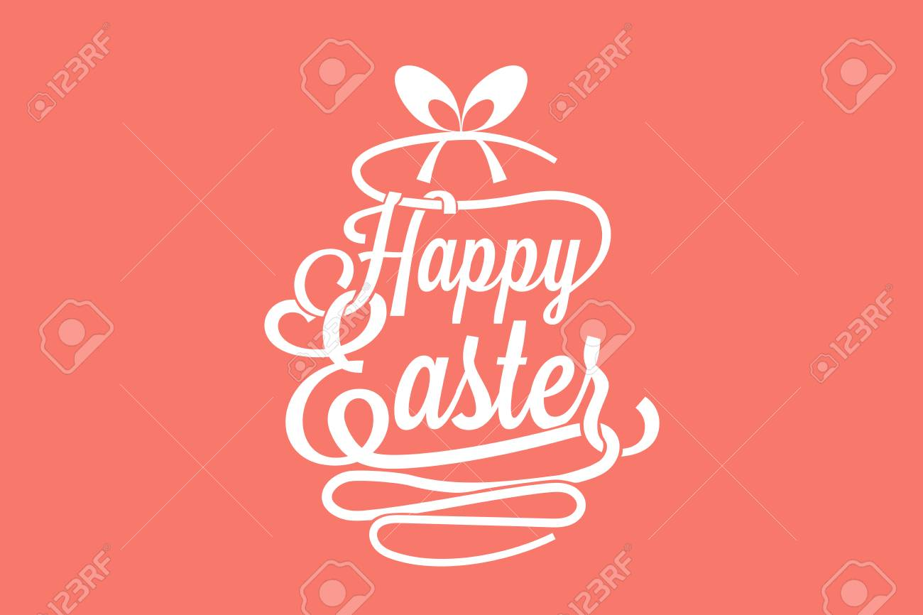 Happy Easter Greeting Card With Calligraphic Words And Egg Royalty