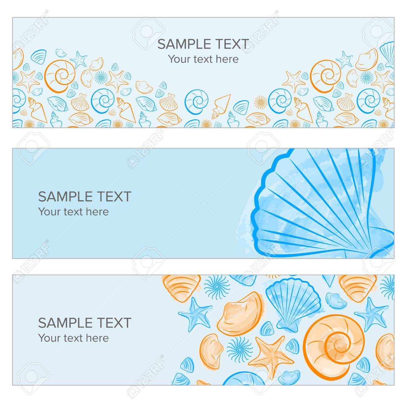 Seashell Summer Banner With Draw, Icon Created With Illustrator Watercolor  Brush Stock Vector   55995126