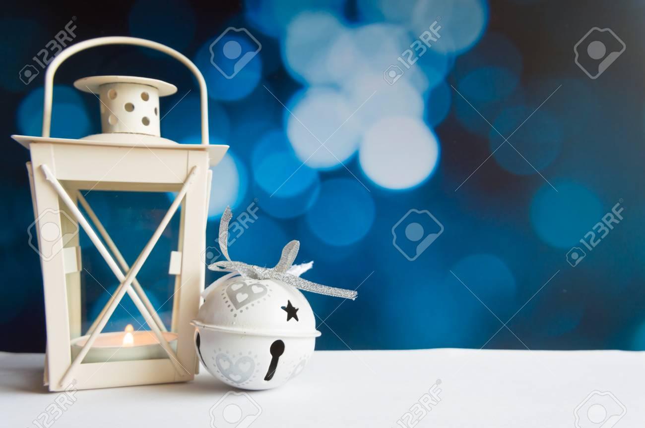 Christmas ball tree and lantern on blue bokeh light background Stock Photo - 68348879