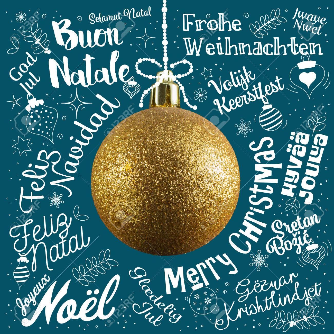 Frohe Weihnachten Grußkarte Von Welt In Verschiedenen Sprachen Mit ...