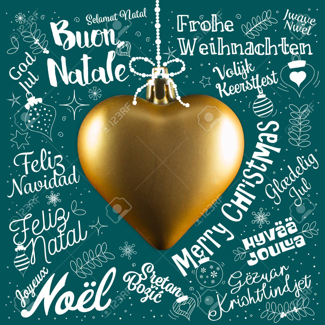 Merry Christmas In Different Languages.Merry Christmas Greetings Card From World In Different Languages