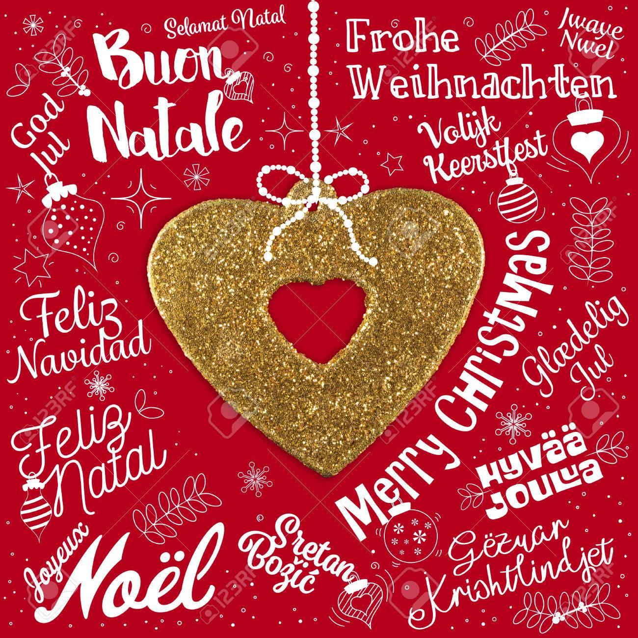 Frohe Weihnachten In Allen Sprachen.Stock Photo