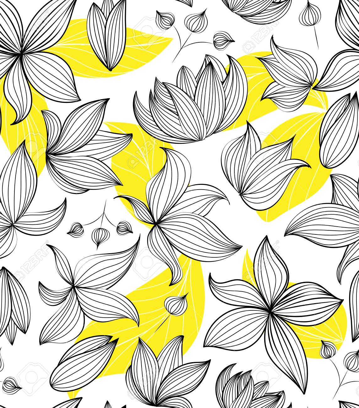 Floral vector seamless pattern with hand drawn black flowers on colorful leaves - Moire outline illustration Stock Vector - 79857559