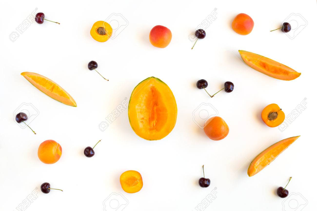 Colorful summer fruits pattern with melon slices, apricots and cherries isolated on white background Stock Photo - 80172639