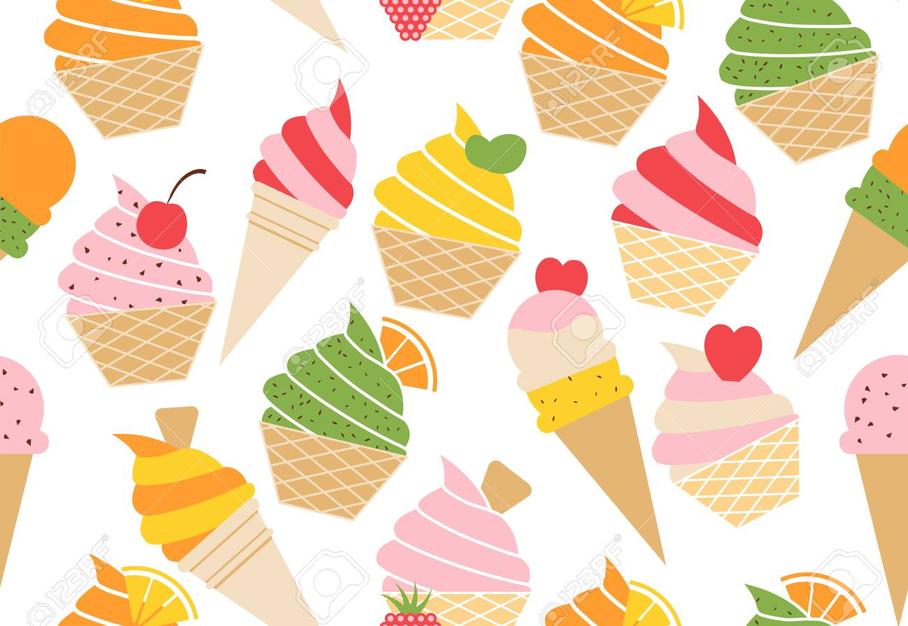 Colorful vector summer seamless pattern with fruits and ice cream illustration isolated on white background Stock Vector - 80951666