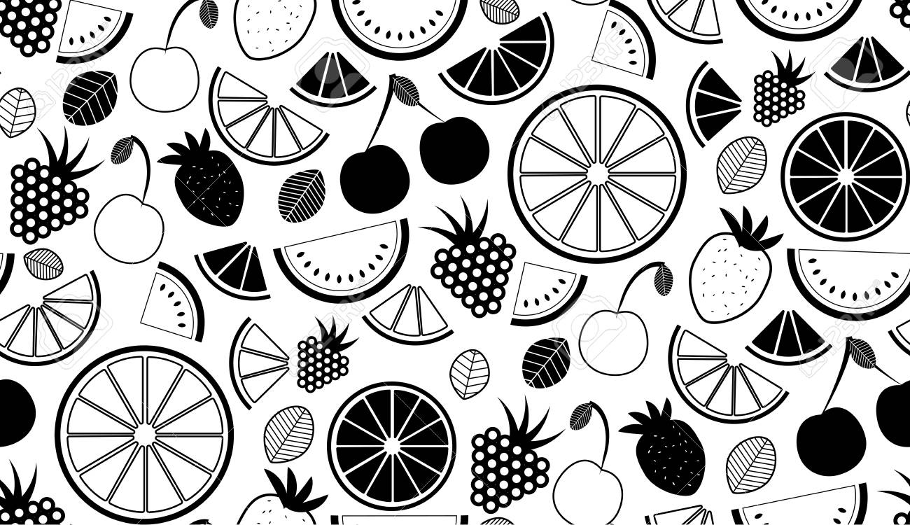 Monochromatic vector summer seamless pattern with fruits illustration isolated on white background Stock Vector - 80951669