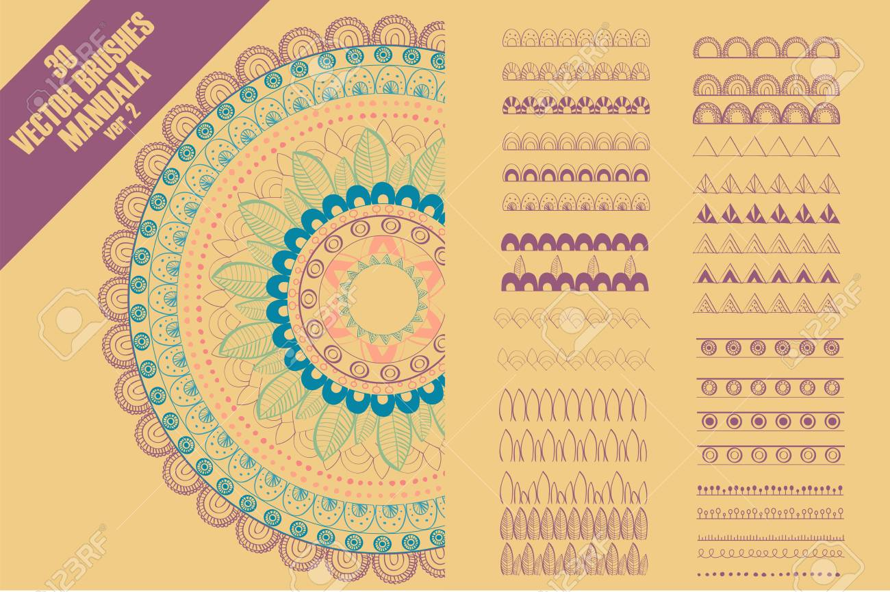 Vector seamless pattern brushes to create mandala decor for your design with abstract ornament. Oriental design. Ornamental doodle background. Stock Vector - 81560508