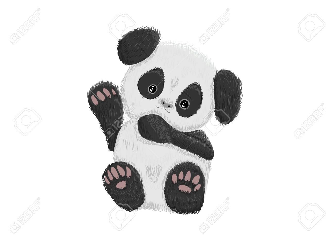 Cute baby panda bear hand drawn vector illustration Stock Vector - 81966143
