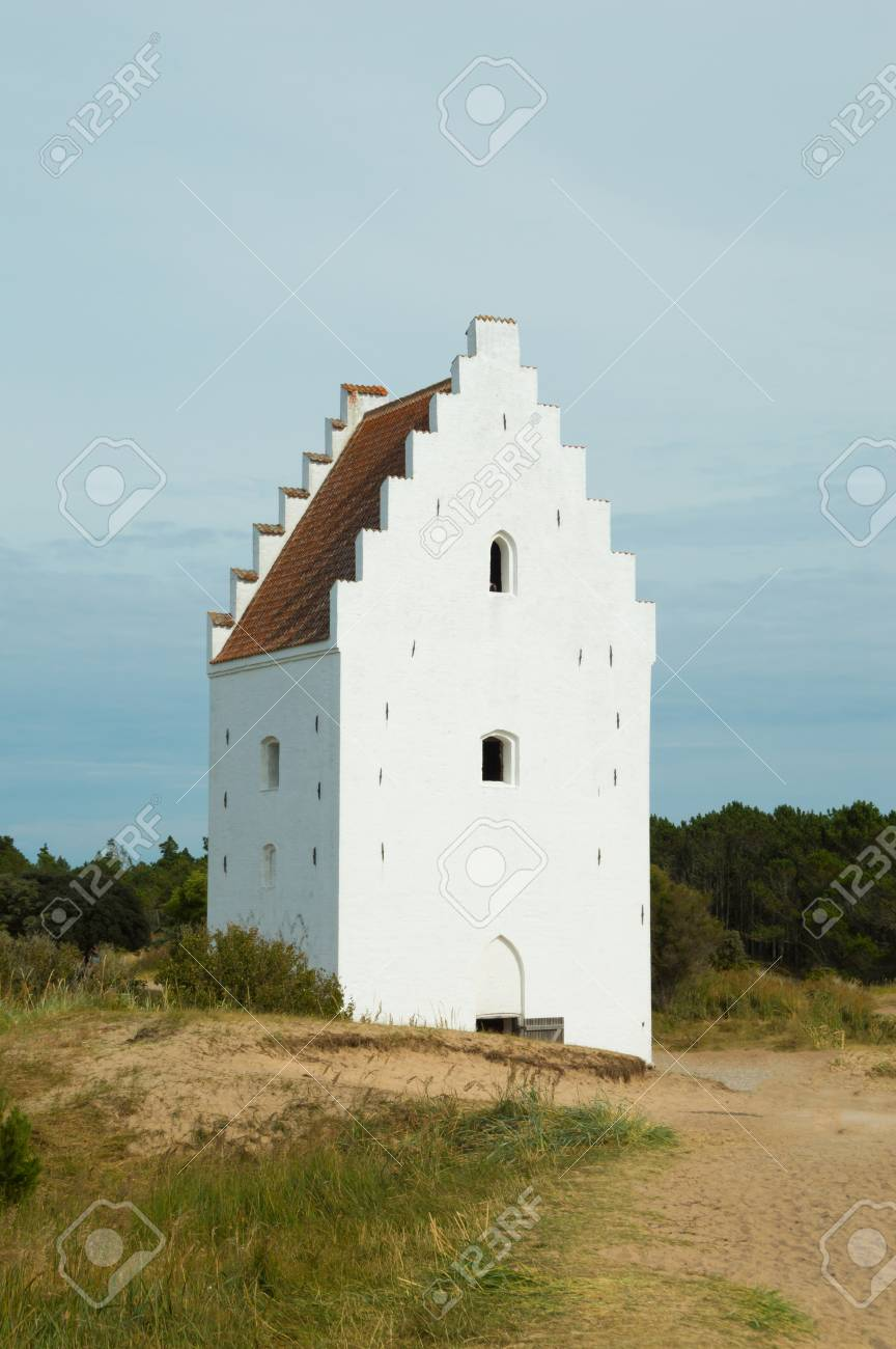 Den Tilsandede Kirke, Sand-Buried Church, Skagen, Jutland, Denmark Stock Photo - 83766699