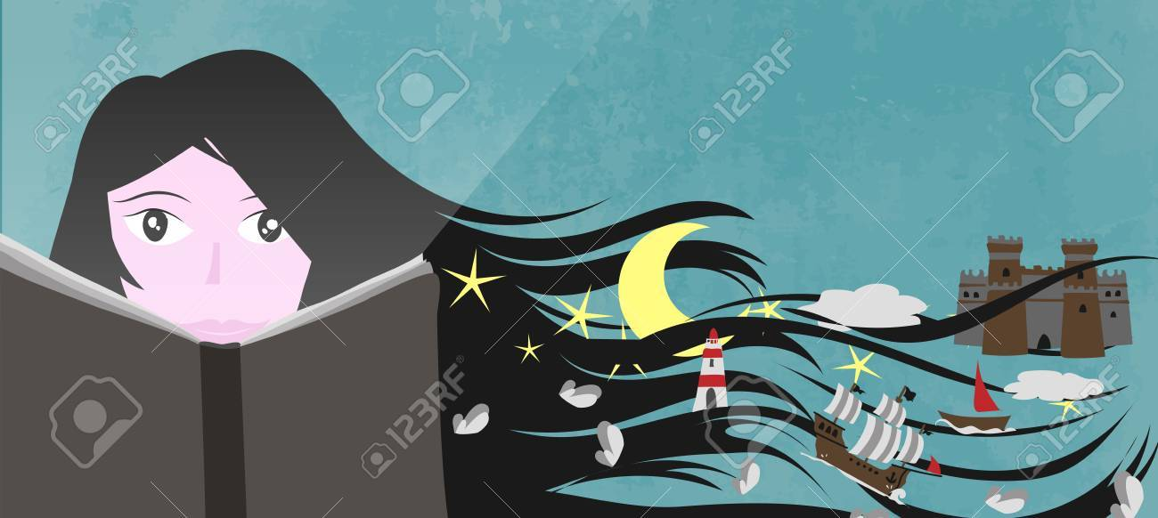 A girl read a book and his imagination and fantasy create a magic world - Vector illustration for web banner Stock Vector - 83879280