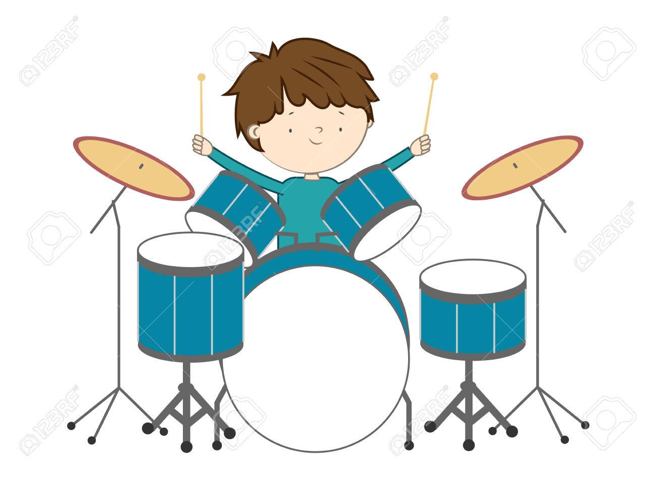 Boy playing drums isolated on white background - Vector illustration Stock Vector - 83879286
