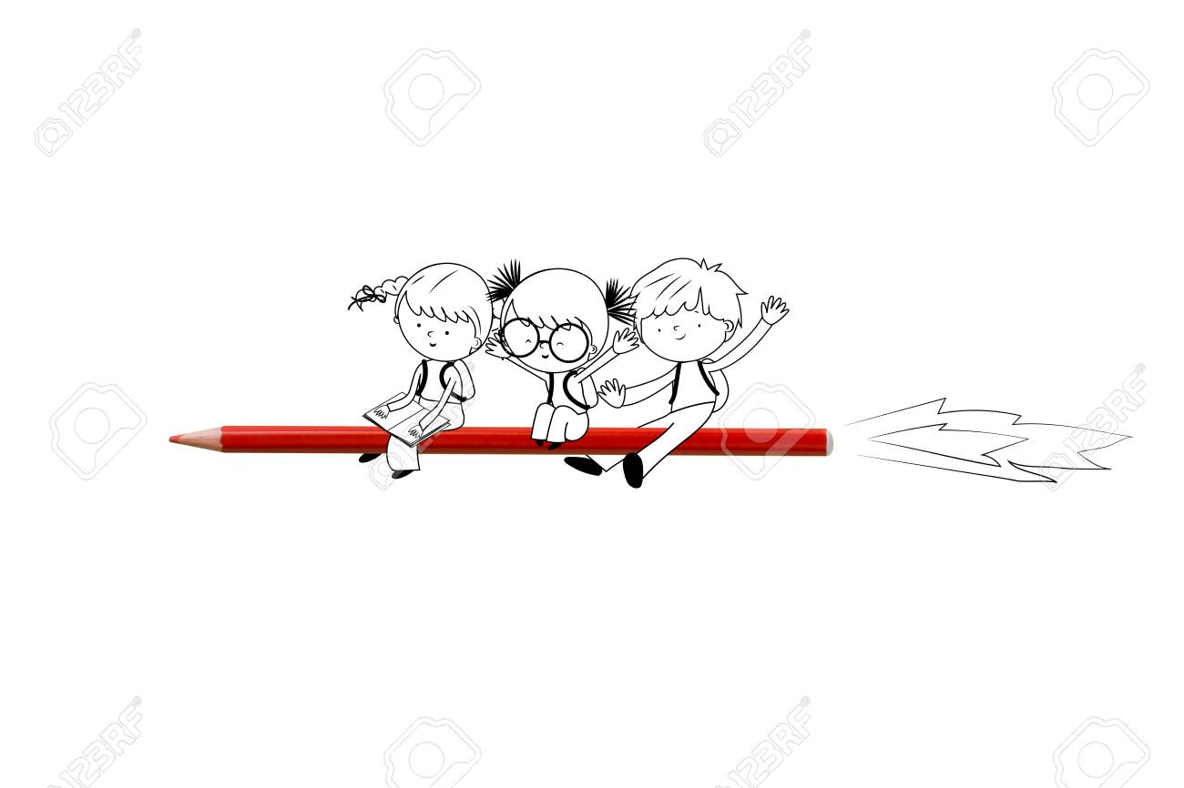 Back to school - Illustration with happy children flying on red crayon rocket Stock Illustration - 84264163