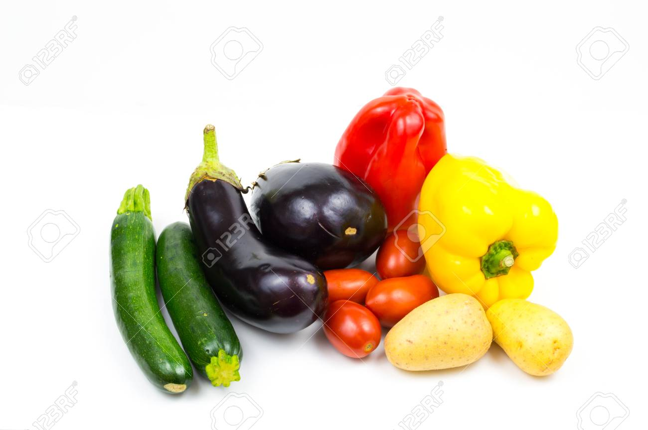 Raw food vegetables isolated on white background with copy space, pepper, eggplant, tomato, potato and zucchini close up Stock Photo - 84193162