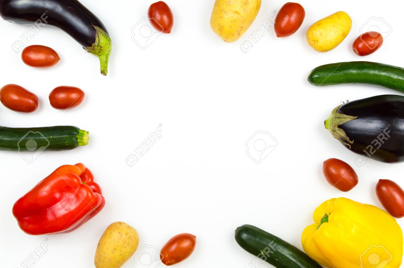 Raw food vegetables isolated on white background with copy space, pepper, eggplant, tomato, potato and zucchini Stock Photo - 84193161
