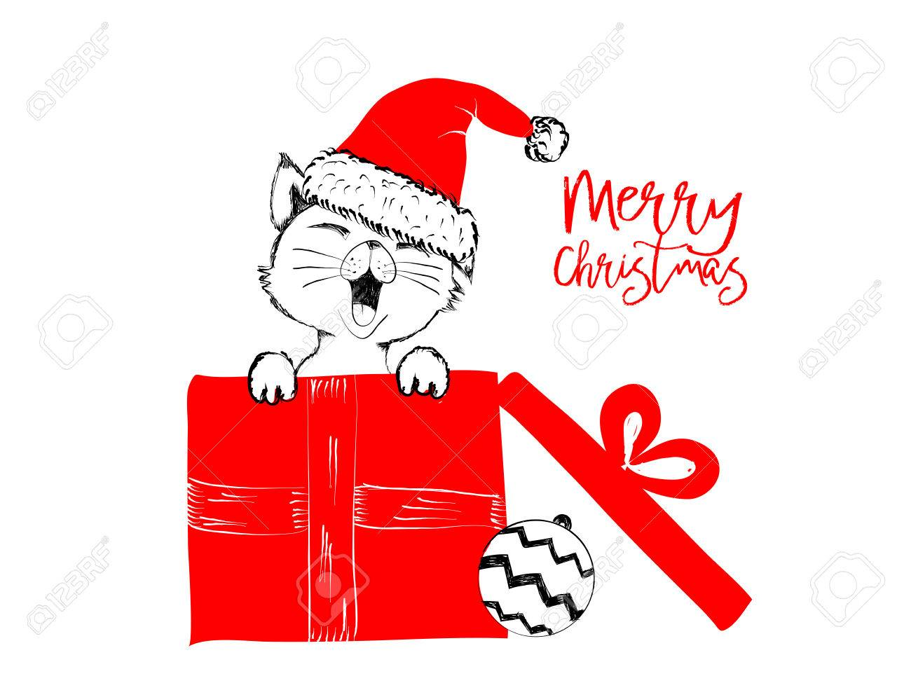 It Christmas Merr Christmas.Merry Christmas Greetings Cards Hand Drawn With Black And Red