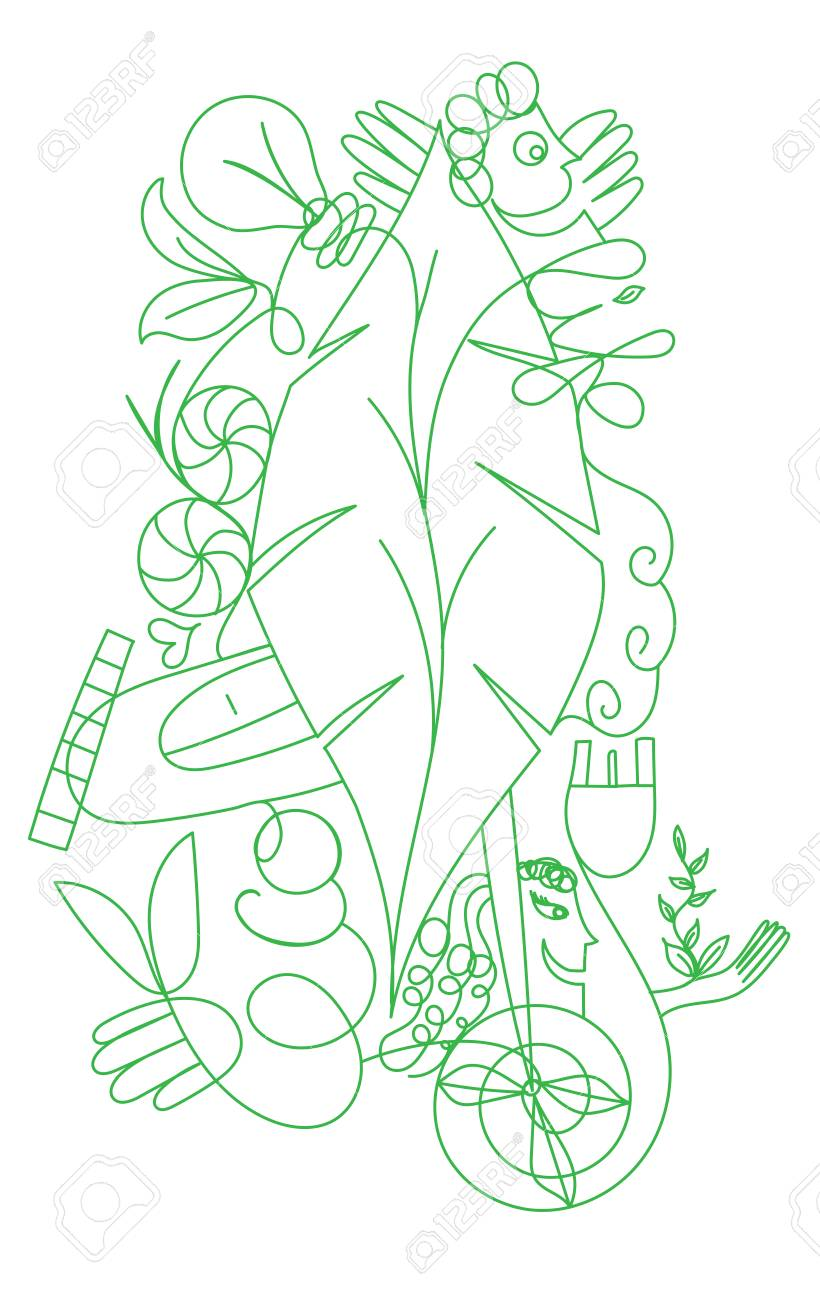 Vector doodlle ecologic concept for green life and world - Outilined illustration Stock Vector - 87467107
