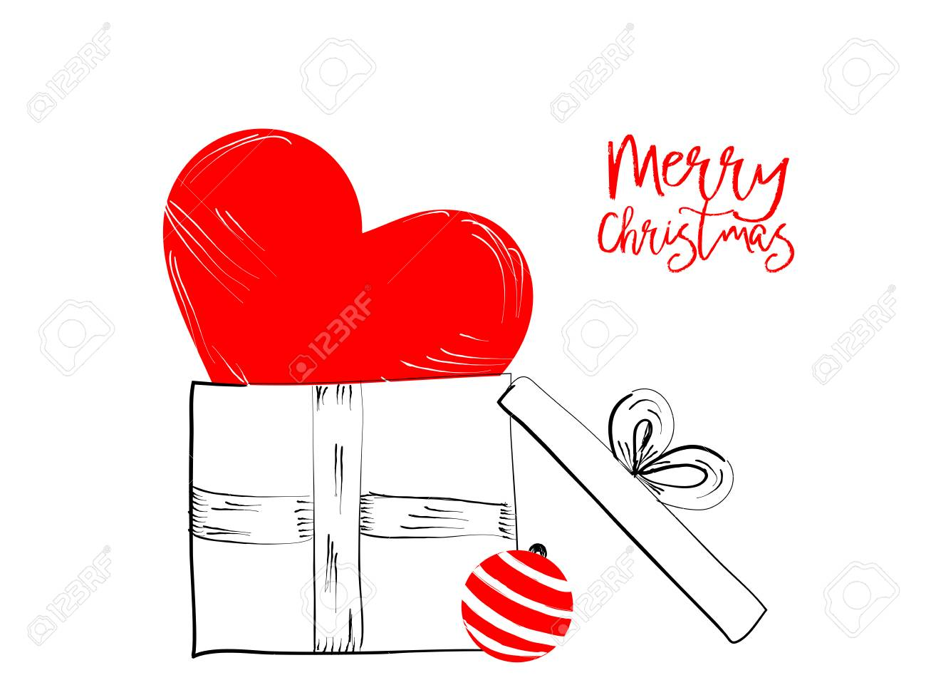 Merry Christmas greetings cards hand draawn with black and rec ink pens for loving holidays - Vector Illustration isolated on white Stock Vector - 88847019