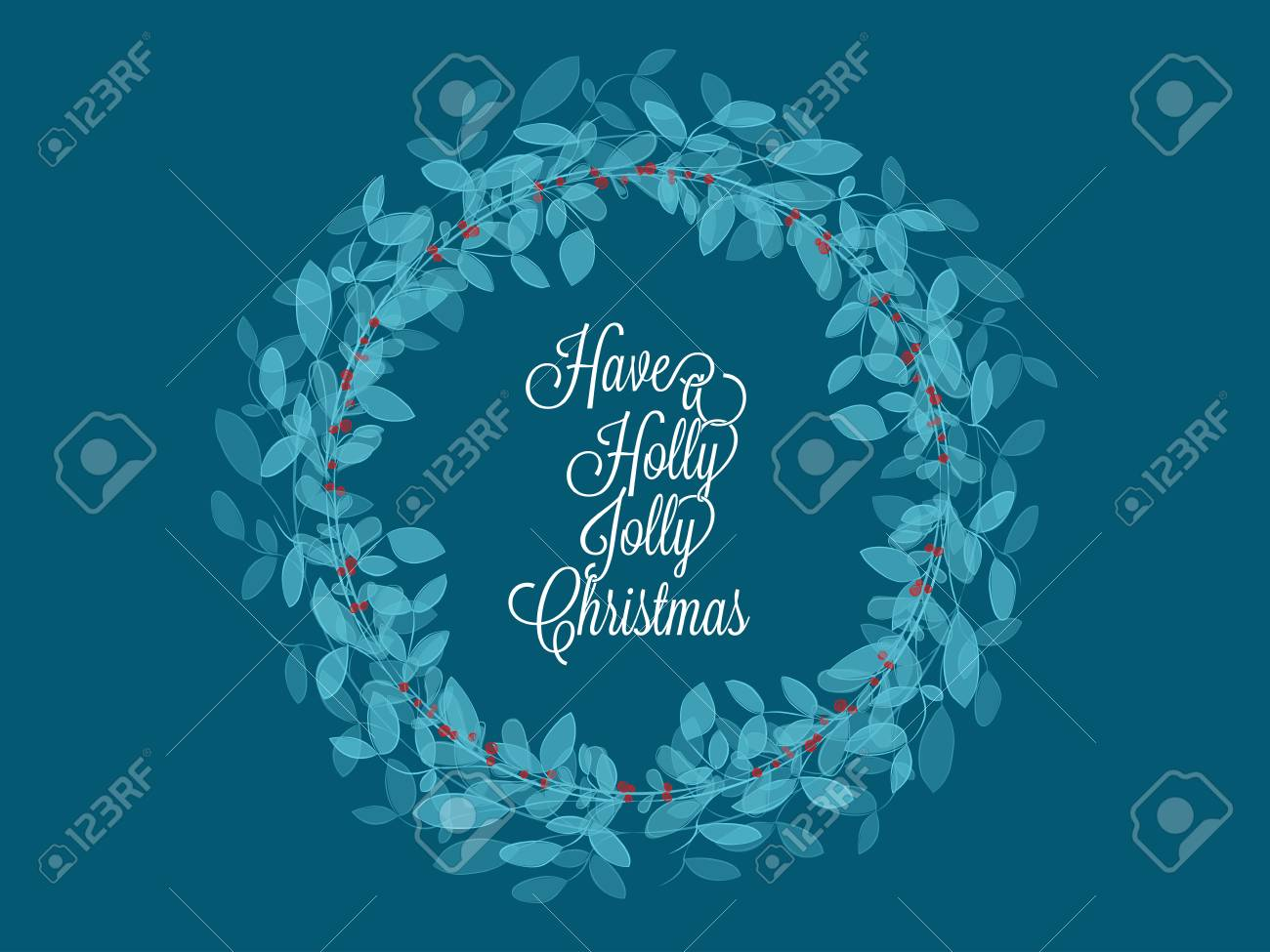 Happy new year greetings card with green leaf and red holly jolly created with watercolor brushes effect Stock Vector - 89284658