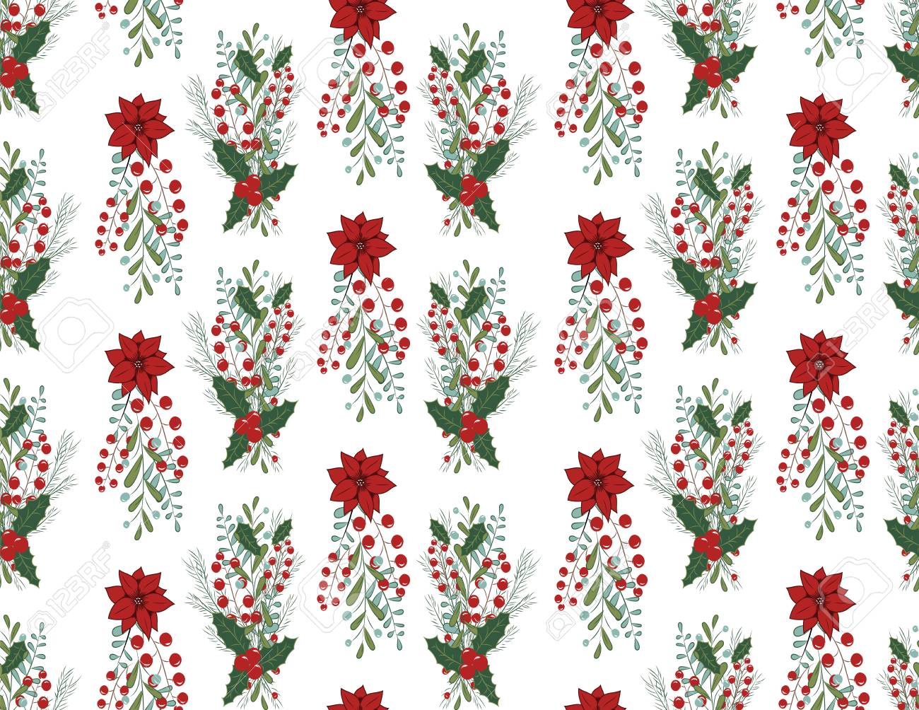 Christmas vector seamless pattern with hand drawn illustration isolated on white Stock Vector - 90267911