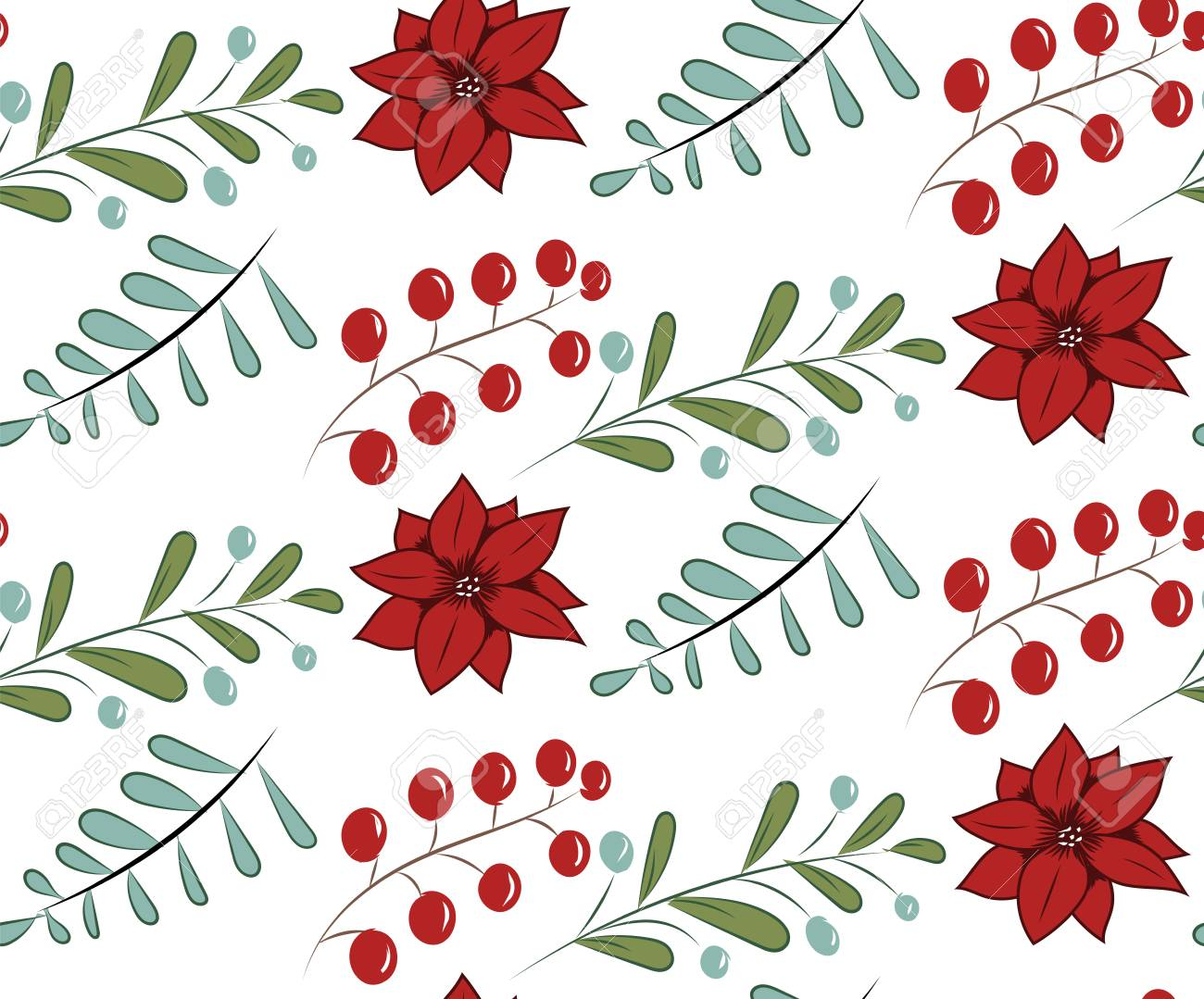 Christmas vector seamless pattern with hand drawn illustration isolated on white Stock Vector - 90500721