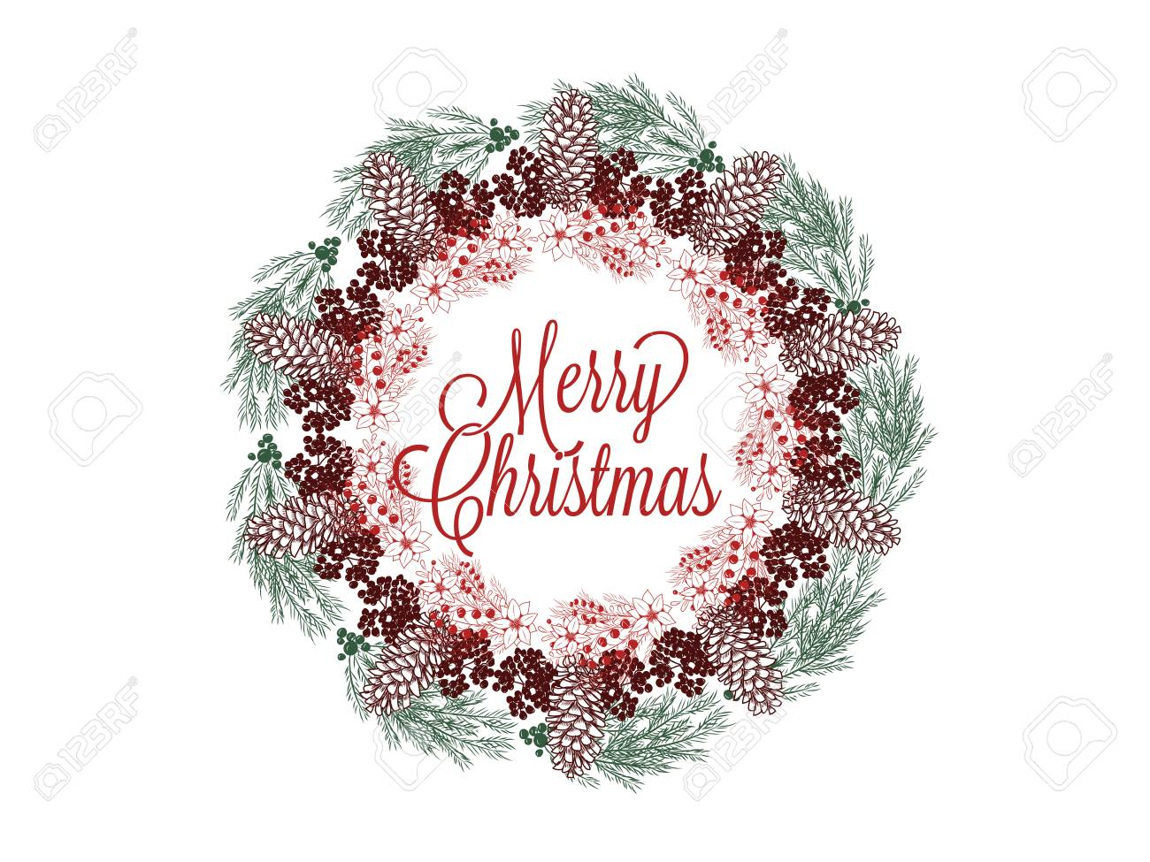 Christmas wreath hand drawn illustration for greeting cards isolated on white Stock Vector - 90581745