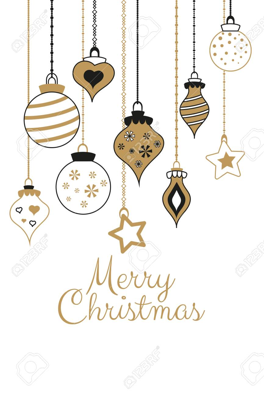 Vector gold greetings cards for Merry Christmas with balls, tree, flower, garlands, text for print and web Stock Vector - 91193411