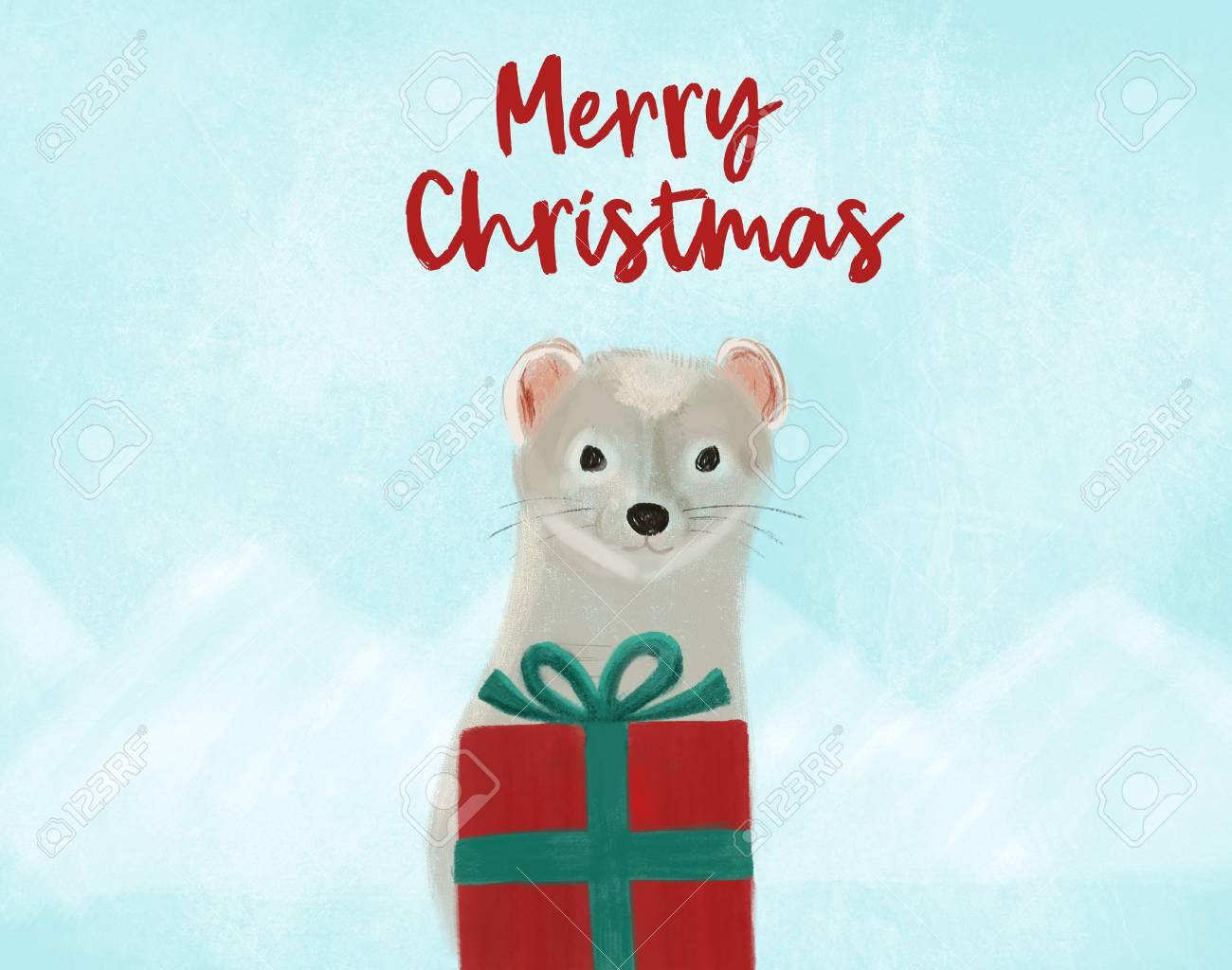 Christmas greeting hand painted card with ermine and red gift on landscape of blue mountains for print and web Stock Photo - 91734277
