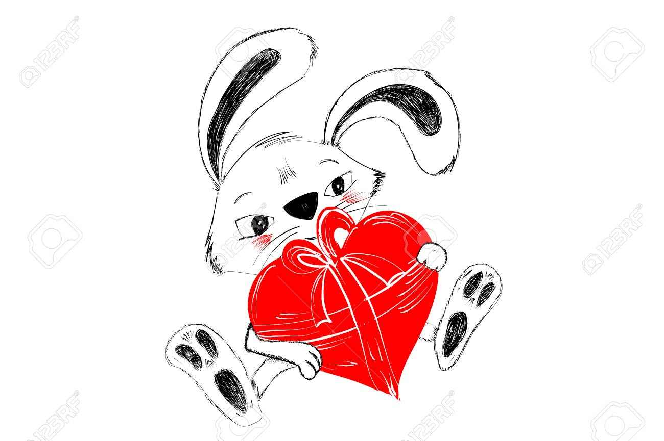 Cute rabbit with red heart for gift hand drawn in black and white for Happy Valentine greeting - Vector illustration isolated on white background Stock Vector - 93448557