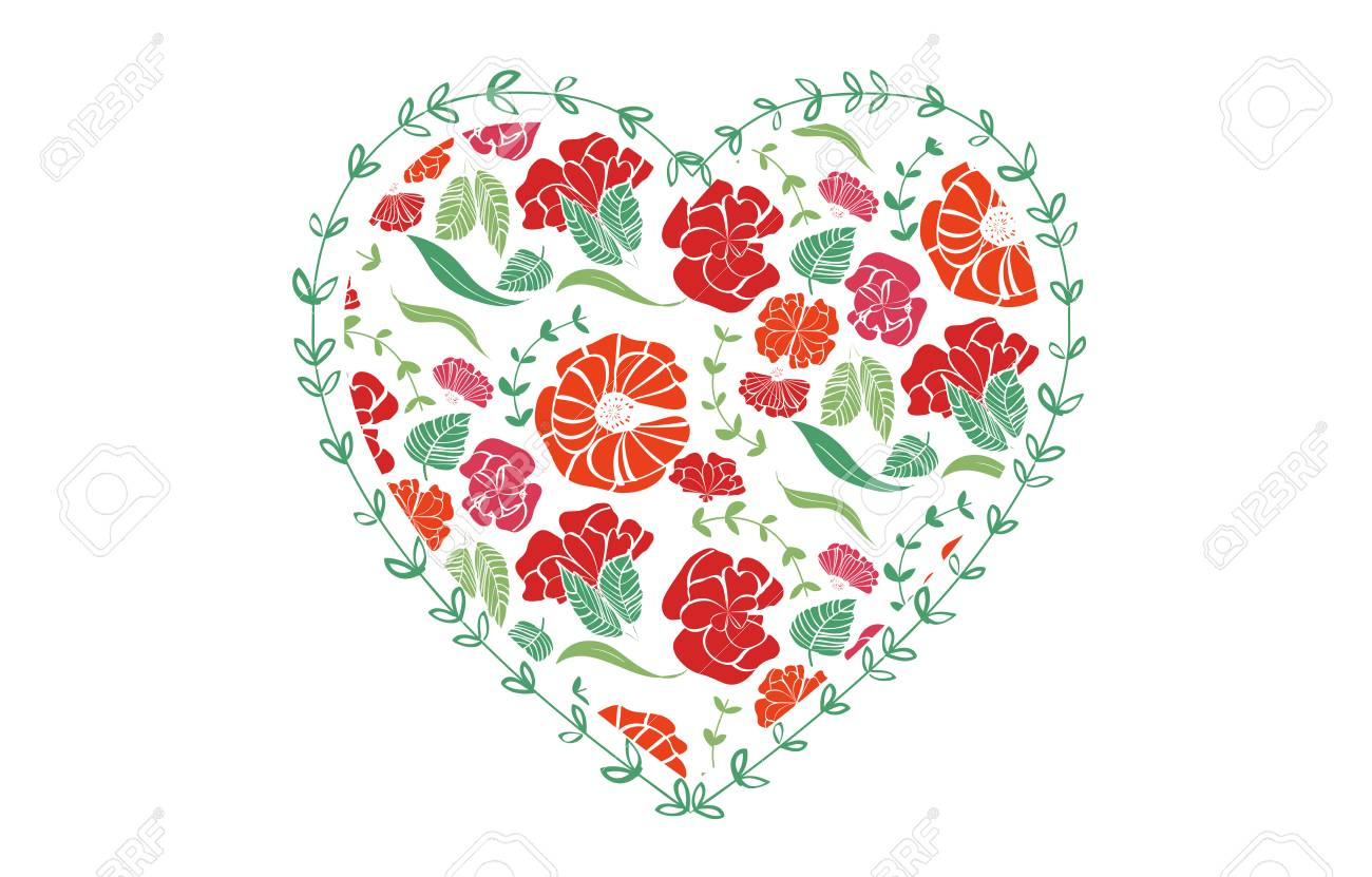 Red heart shape with floral pattern for love greeting card design for print and web - isolated on white background Stock Vector - 94744956