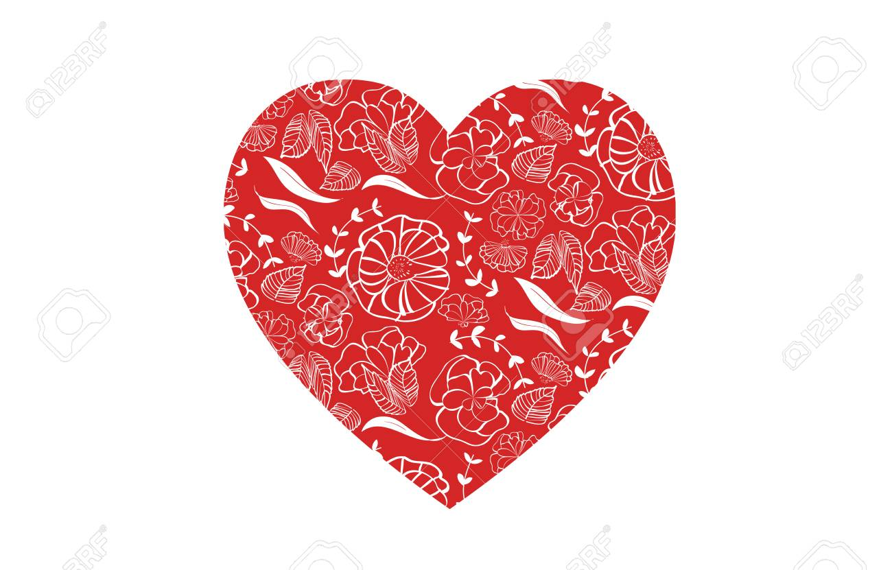 Red heart shape with floral pattern for love greeting card design for print and web - isolated on white background Stock Vector - 94744957