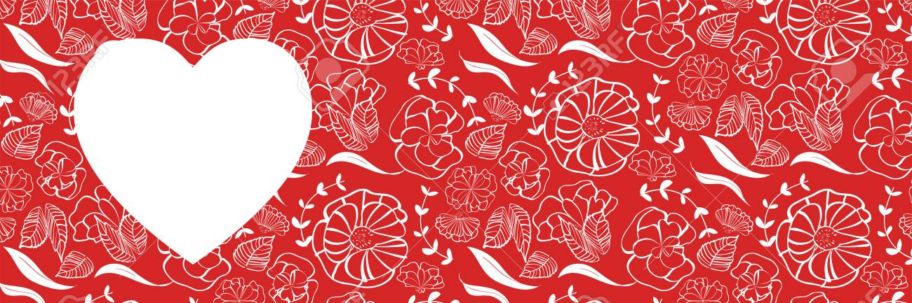 Red Heart Shape With Floral Pattern Background For Love Romance