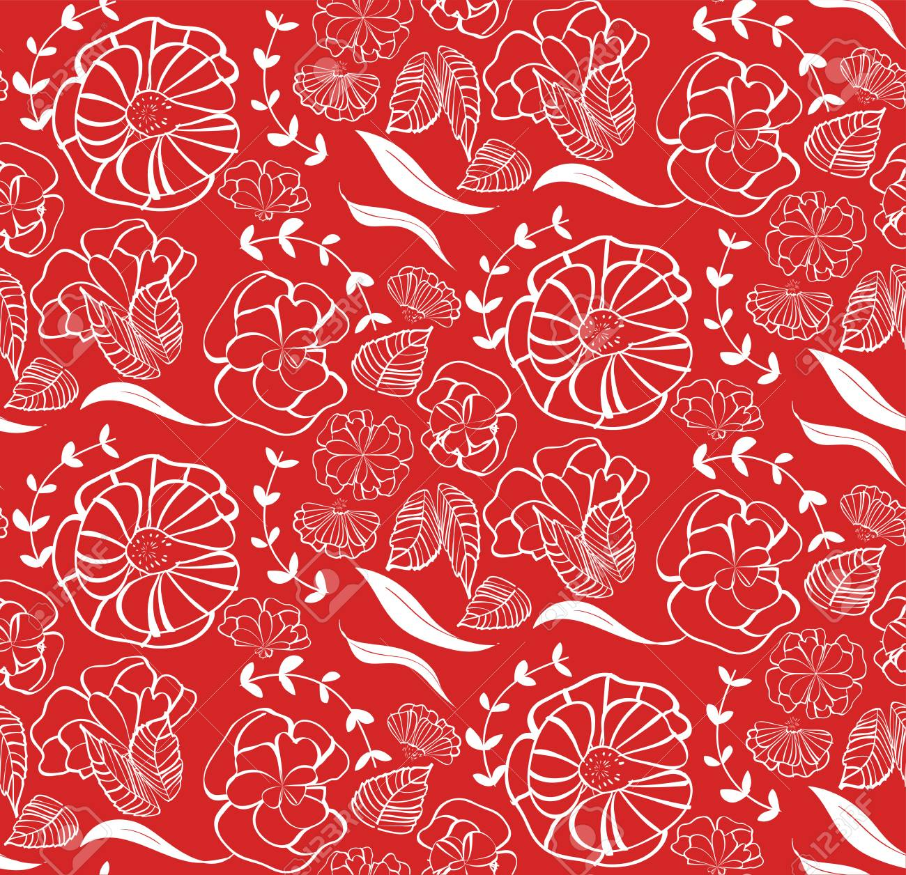 Vector seamless pattern with red roses, orange flowers and green leaves isolated on white background Stock Vector - 94744960