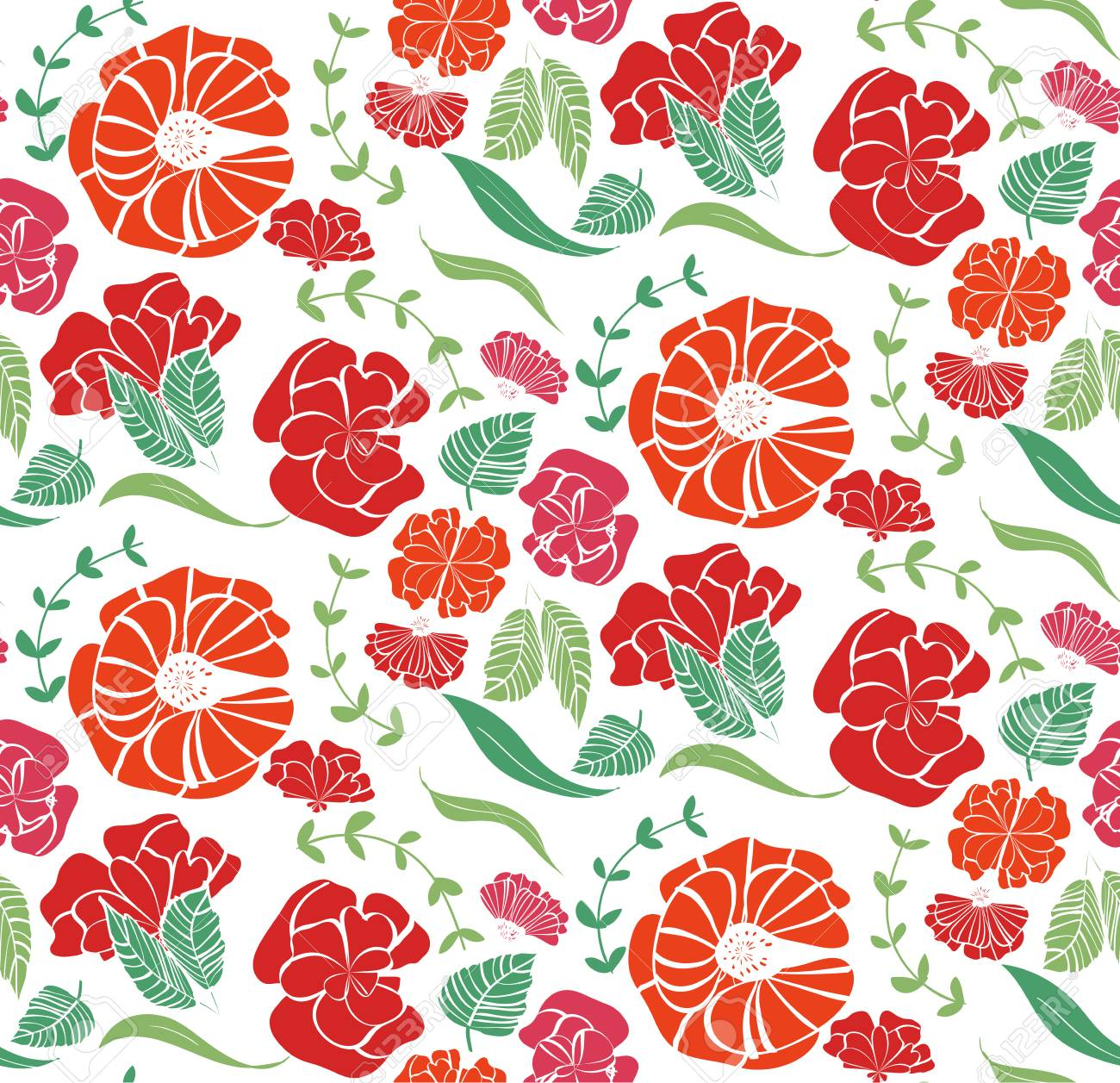 Vector seamless pattern with red roses, orange flowers and green leaves isolated on white background Stock Vector - 94744961