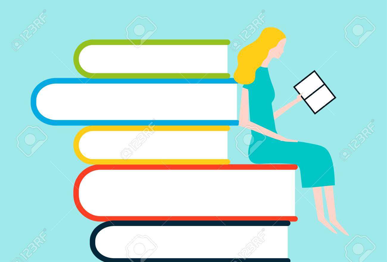 Happy people reading on tower of books - vector colorful illustration isolated on background Stock Vector - 95065045