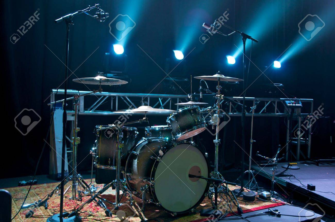 Drum Kit on stage backlit with stage lighting. Stock Photo - 18850814 & Drum Kit On Stage Backlit With Stage Lighting. Stock Photo Picture ...