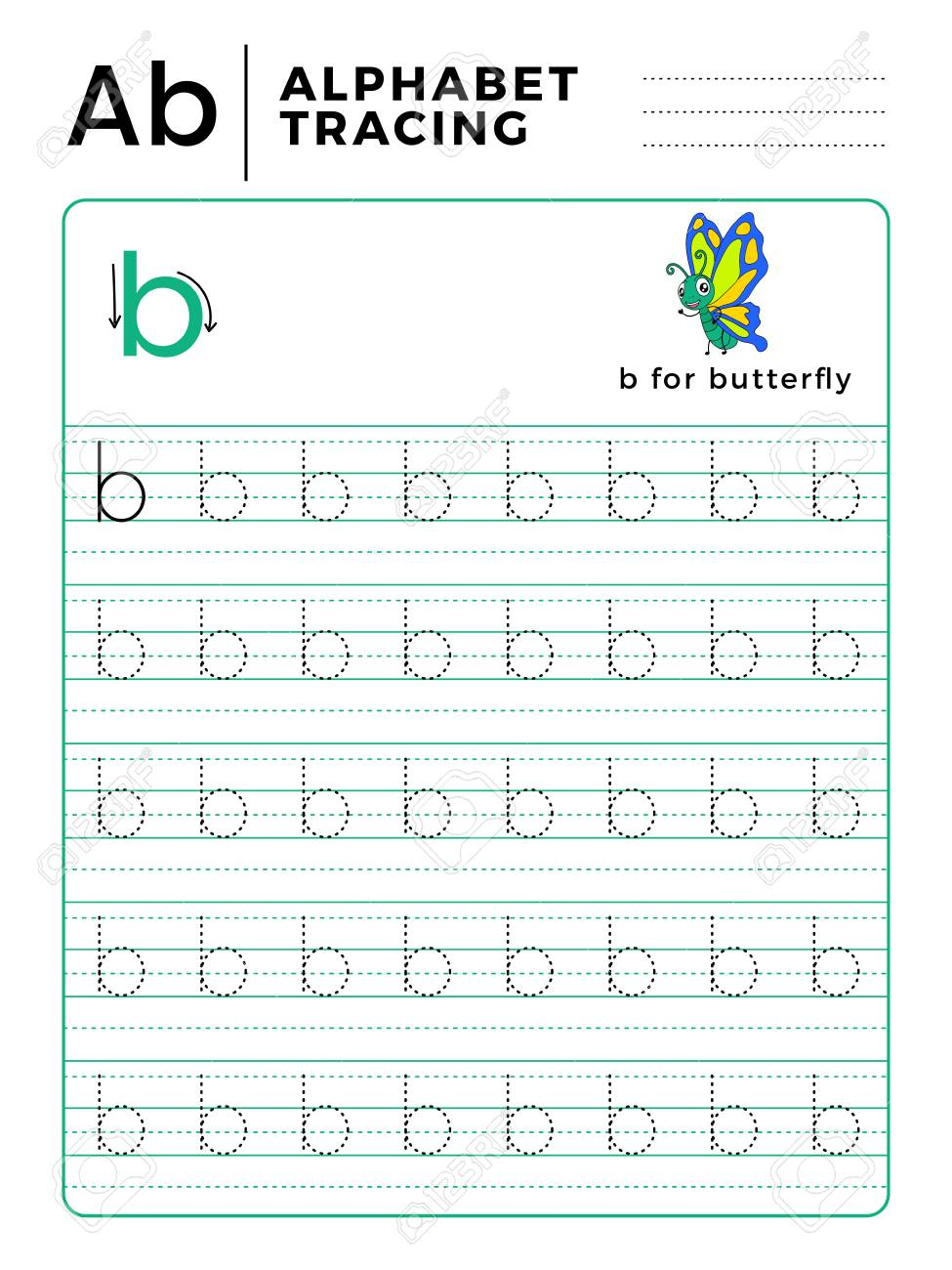 - Letter B Alphabet Tracing Book With Example And Funny Butterfly