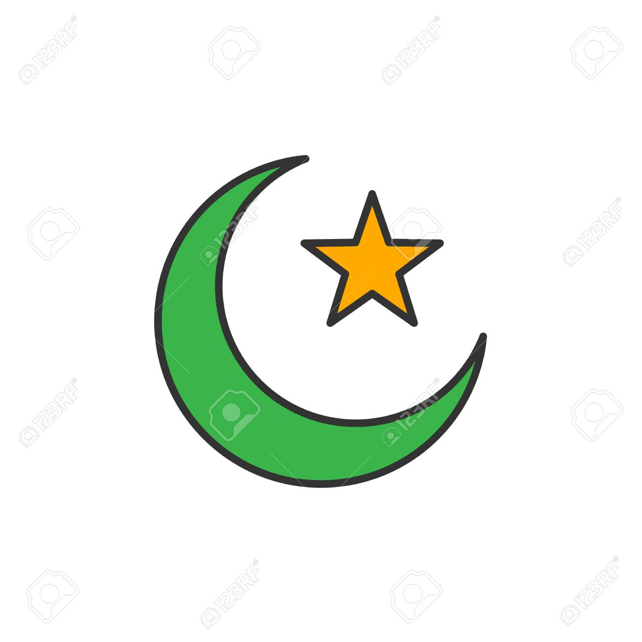 Islam symbol  Crescent moon and star  Simple monoline icon style