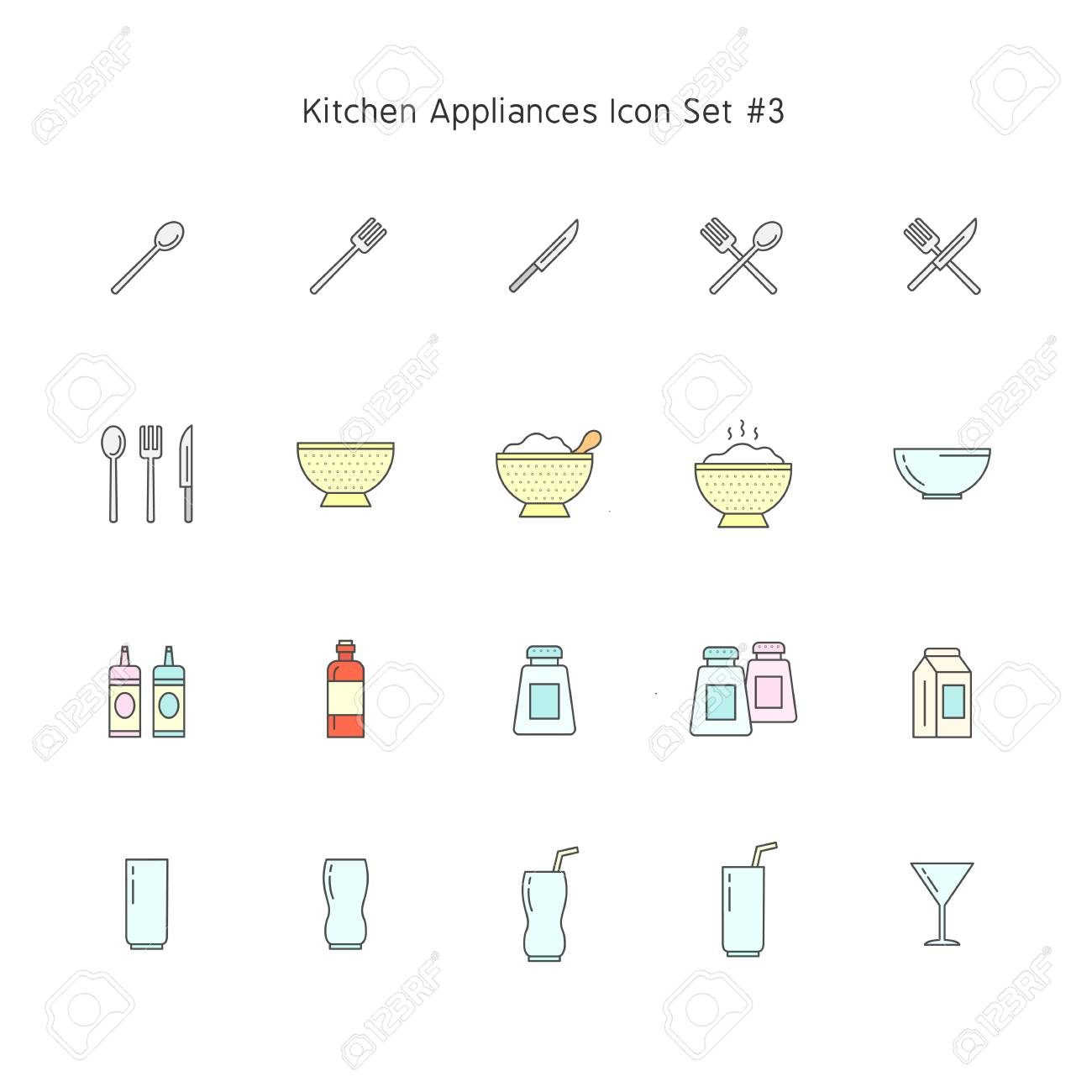 Simple color line kitchen appliances icon set household illustration collection stock vector 116465197
