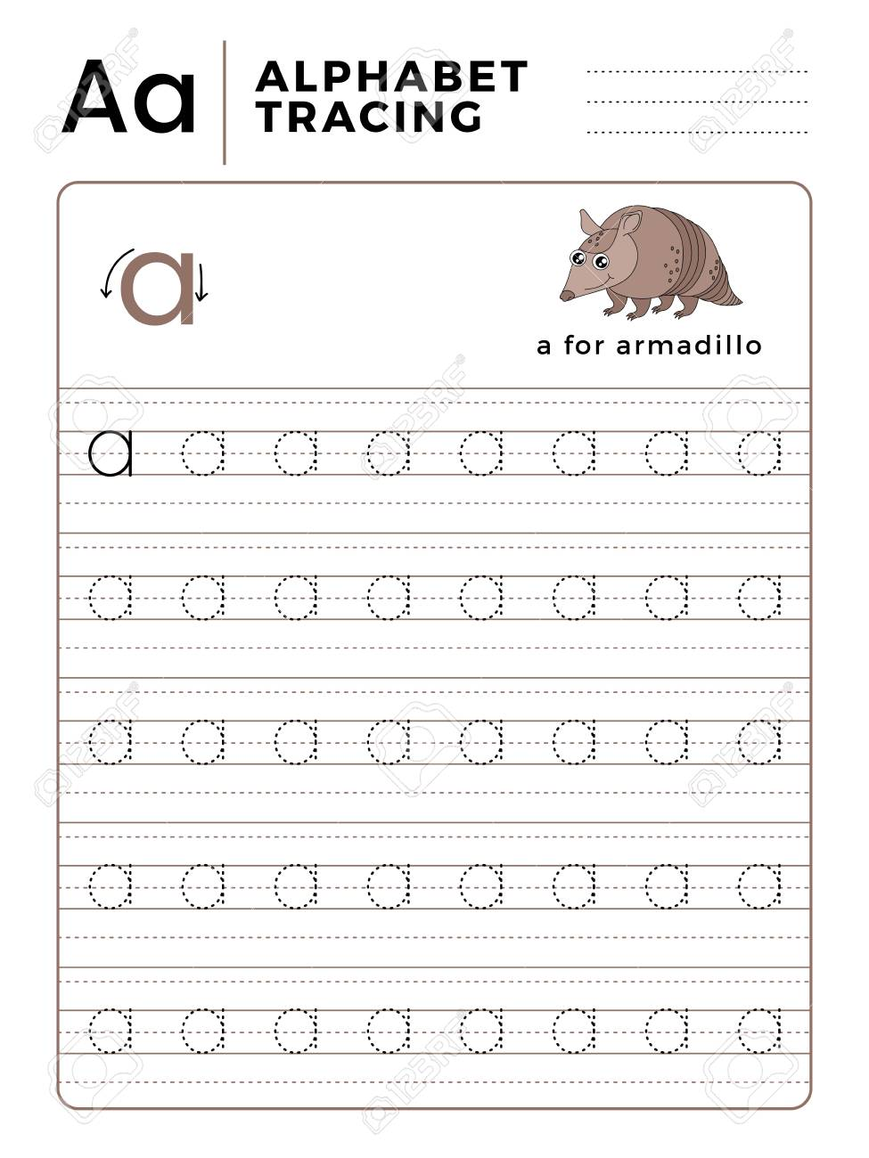 Letter A Alphabet Tracing Book with Example and Funny Armadillo..