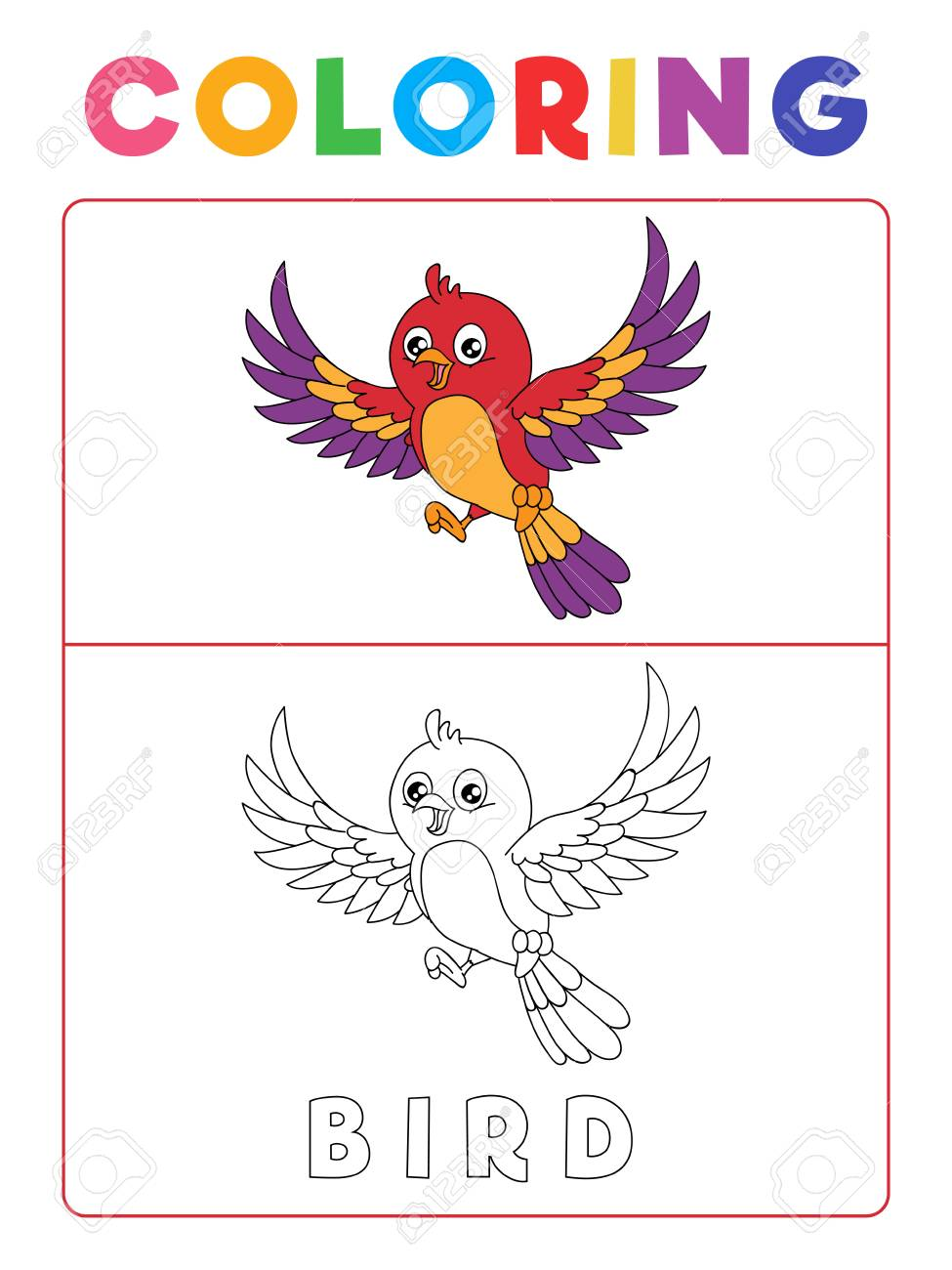 Funny Bird Coloring Book With Example Preschool Worksheet For Royalty Free Cliparts Vectors And Stock Illustration Image 116465243