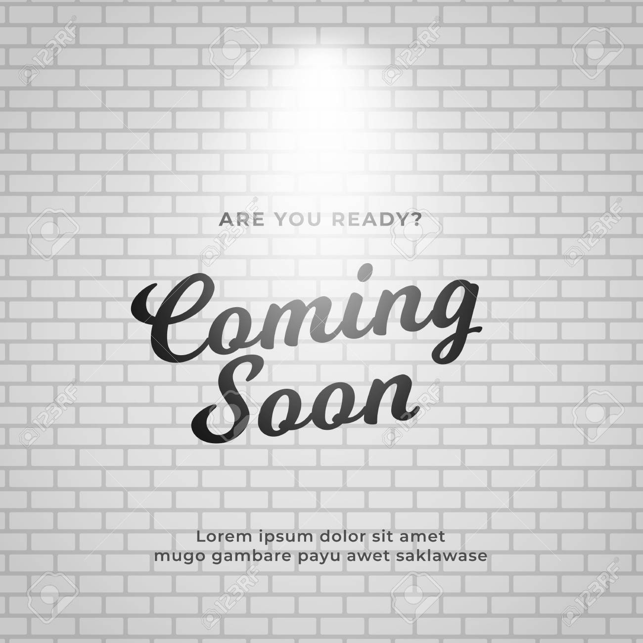 Coming Soon Poster Background Design White Brick Wall Backdrop Royalty Free Cliparts Vectors And Stock Illustration Image 120481339