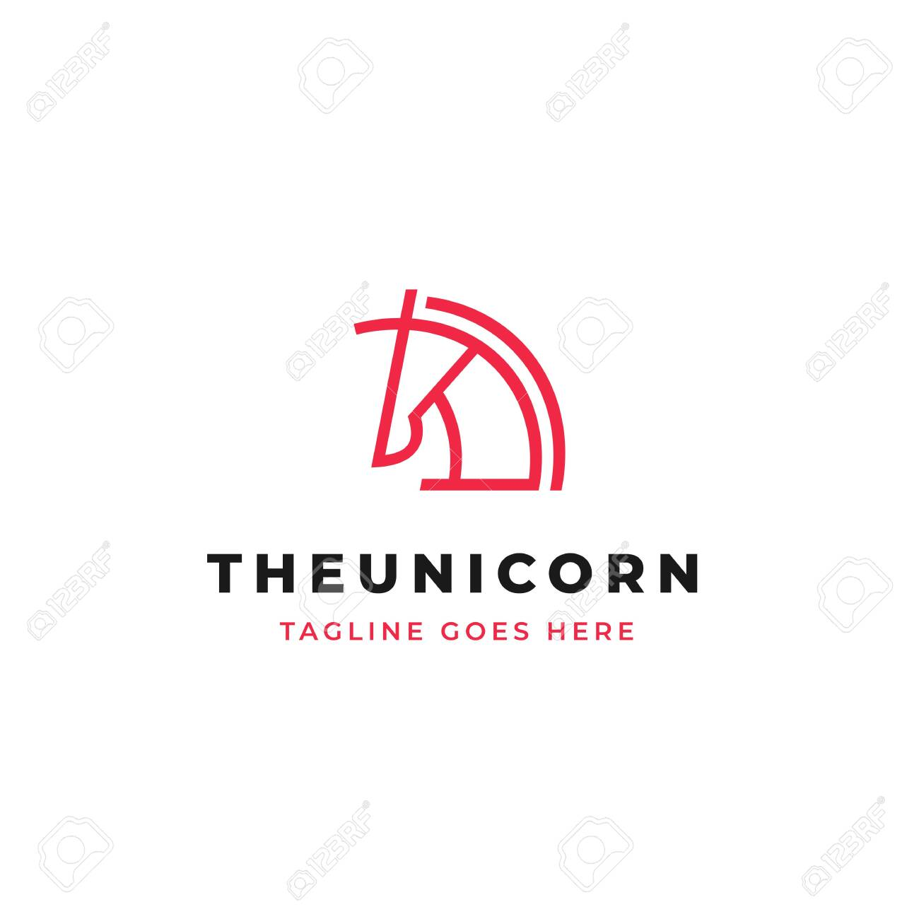 Unicorn Head Line Art Logo Design Simple Horse Head With Horn Royalty Free Cliparts Vectors And Stock Illustration Image 122013837