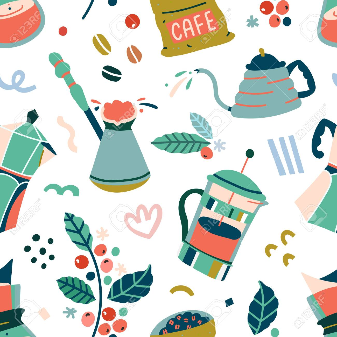 Coffee Tools Backdrop Made Of Simple Vector Doodle Illustrations Royalty Free Cliparts Vectors And Stock Illustration Image 137354900
