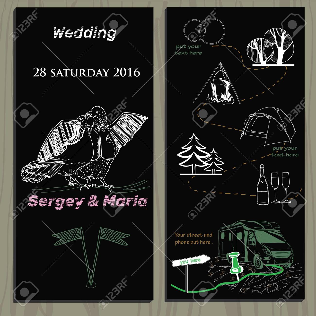 illustration of set of chalk board invitation for wedding in