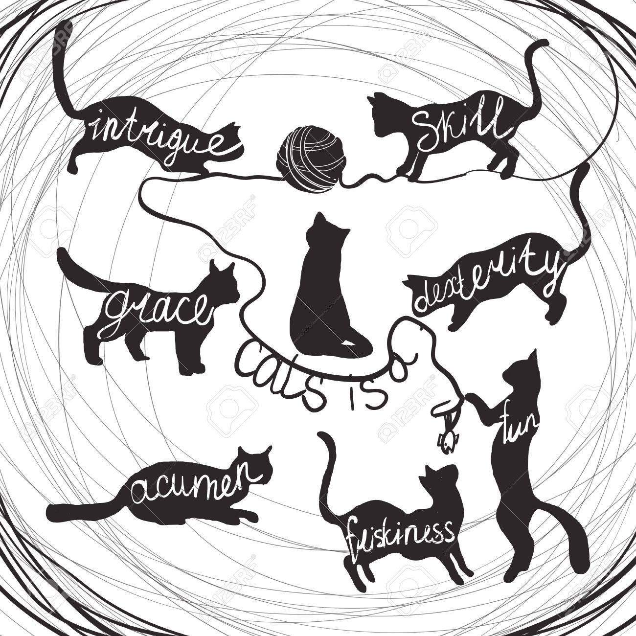 Cat quotes calligraphy lettering set on black cats silhouette...