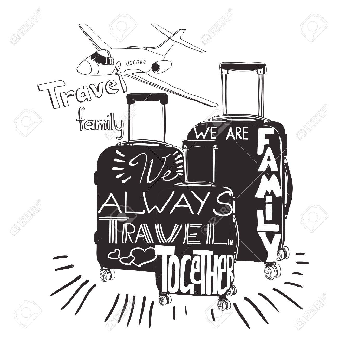 Illustration Travel Inspiration Quotes On Suitcase Silhouette