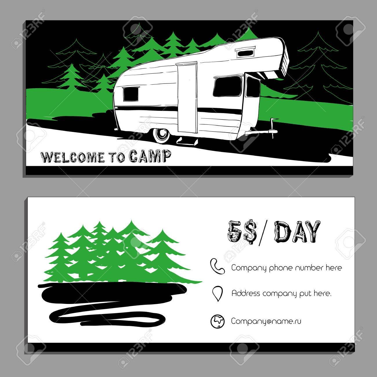 Vector illustration of Bussines card, flyer, leaflet with cars Recreational Vehicles Camper Vans Caravans icon, card template, invitation Transport for Camp. - 68349950