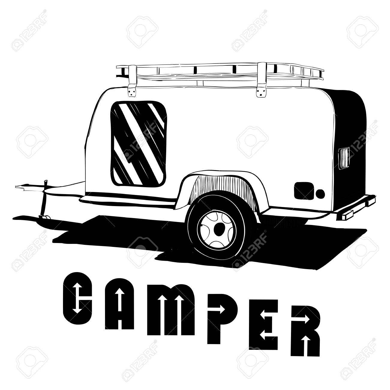Vector Illustration Of Isolated Hand Drawn Doodle Camper Trailer